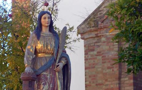 Procesión de Santa Bárbara en La Zarza, Calañas Huelva). Autora: Grego Lazo Lozano. Fuente: Archivo Particular de la autora. 04/12/2013