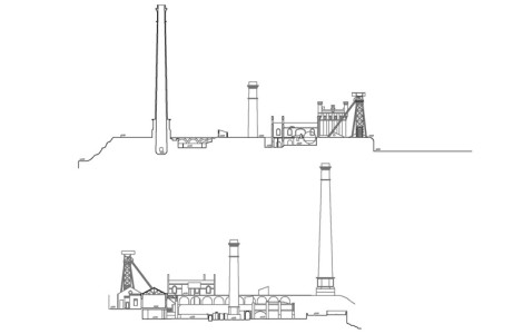Plano del alzado de las instalaciones del conjunto del pozo nº 5. Minas de la Reunión. Villanueva del Río y Minas, Sevilla. Fuente: ETSAS, 2004