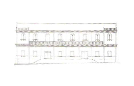 Alzado principal del Teatro del Conjunto Histórico de Minas de La Reunión en Villanueva del Río y Minas, Sevilla. Autor: . Fuente: Diagnóstico de Conjunto Histórico de Minas de la Reunión. 1999.